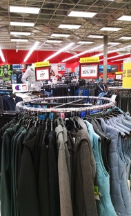 Crowded merchandise at Sports Authority
